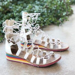 Jeffrey Campbell White Gladiator Rainbow Sandals
